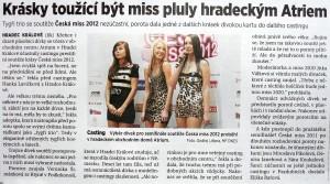 Casting Česká Miss 2012